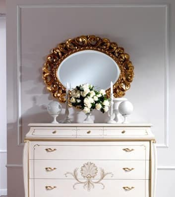 OLIMPIA B / Oval Mirror, Classic oval mirror in solid wood carved