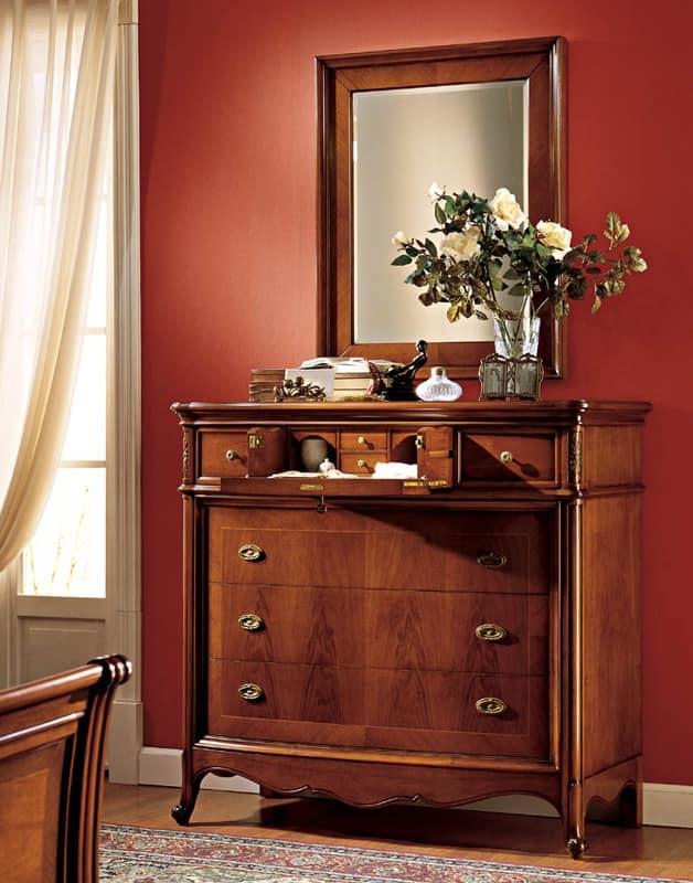 Opera mirror, Elegant mirror with frame in walnut, for Restaurant