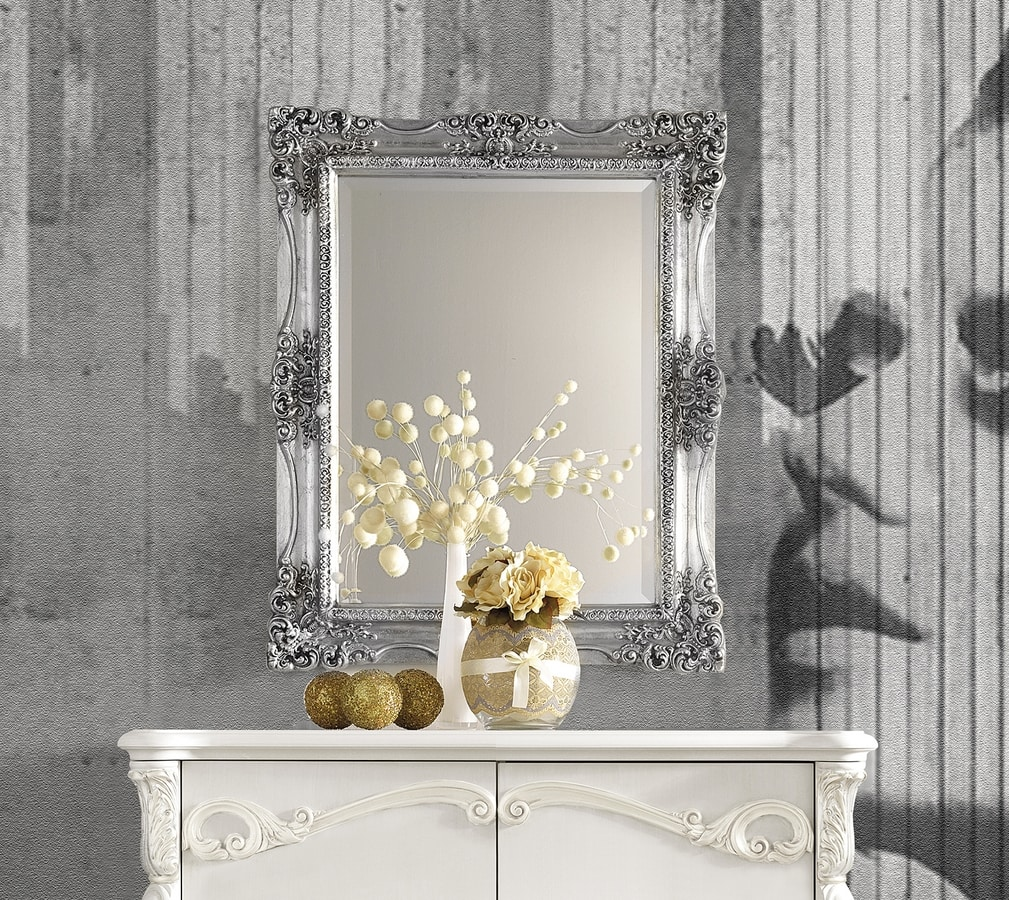 Puccini Art. 7620, Wall mirror with silver leaf frame