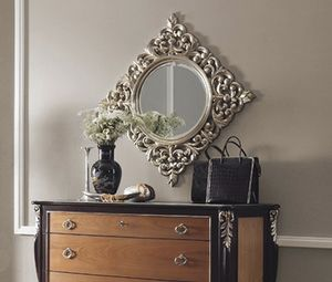 R89 / mirror, Round mirror, with square carved frame