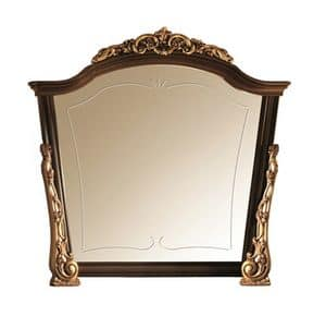 Sinfonia mirror, Mirror in wood with gold embellishments, handmade