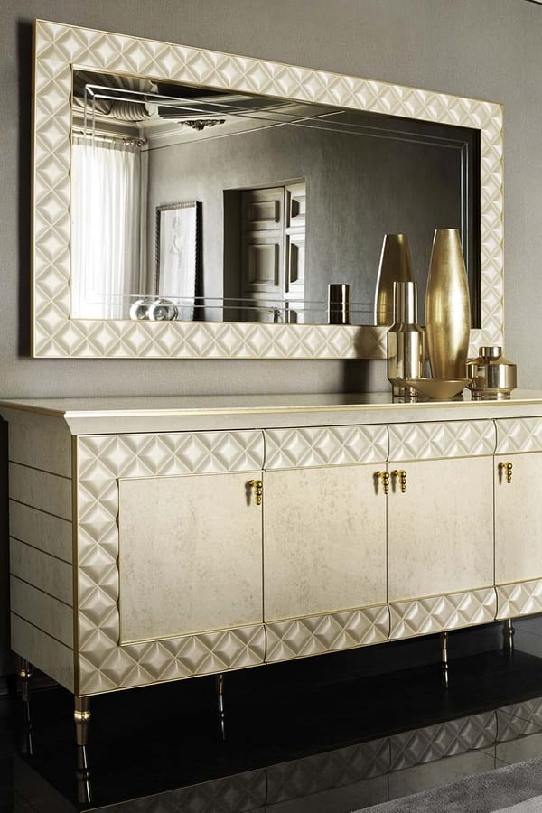 SIPARIO mirror, Classic style mirror with quilted frame