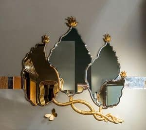SP30 mirror, Leaves shape mirror with gold leaf finish