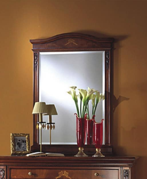 Voltaire mirror, Classic mirror in wood with bevelled glass