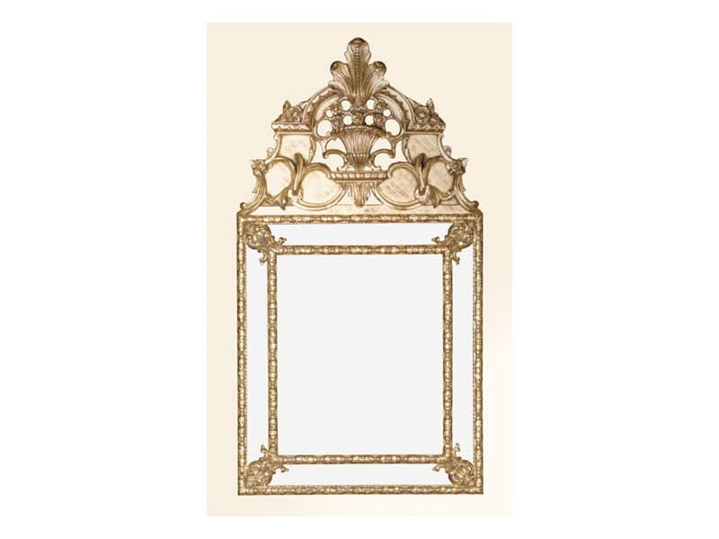 Wall Mirror art. 105, Square mirror with decorated frame, Louis XIV style