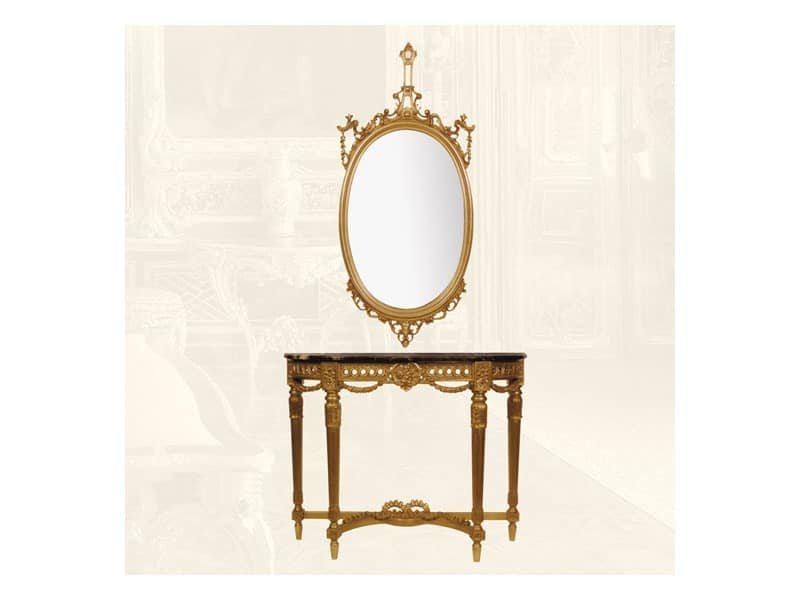 Wall Mirror art. 111/a, Oval mirror made of lime wood, classic style