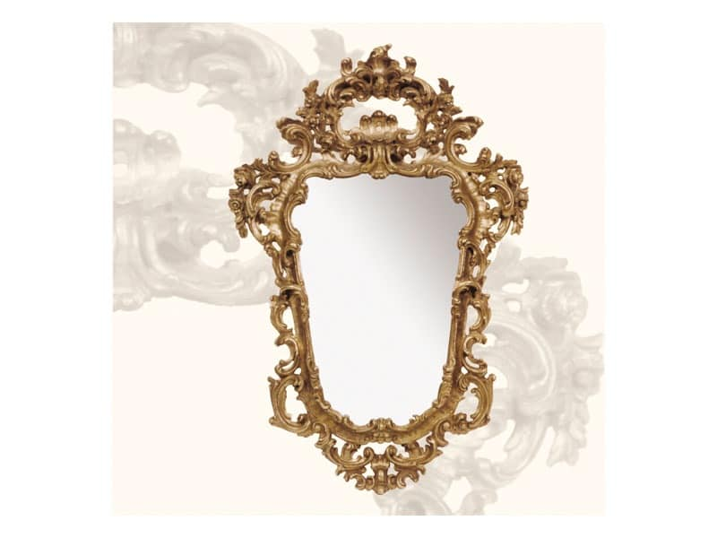 Wall Mirror art. 113, Mirror with wooden frame, Rococo style