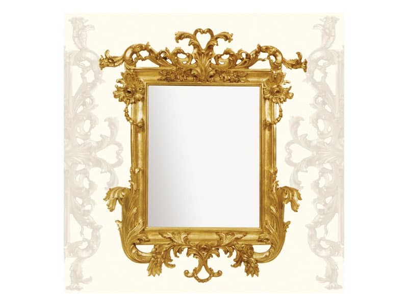 Wall Mirror art. 114, Mirror with carved wooden moulding