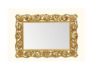 Wall Mirror art. 116, Horizontal mirror with wooden carved frame