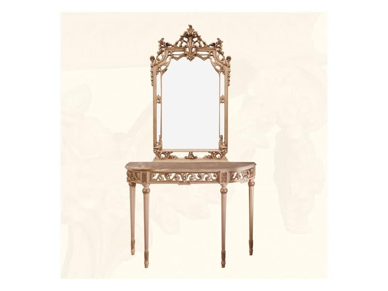 Wall Mirror art. 117/a, Classic style mirror with finishings in ivory and gold