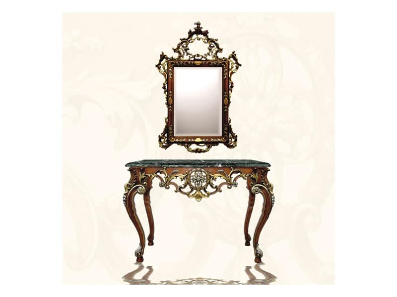 Wall Mirror art. 122, Rectangular mirror with frame, Louis XV Style