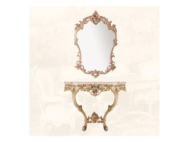 Wall Mirror art. 127, Louis XV style mirror, for entrances and living rooms