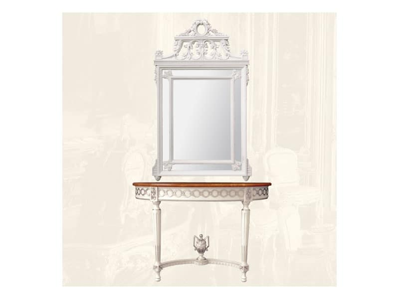 Wall Mirror art. 131, Rectangular mirror with wooden frame, Louis XVI Style