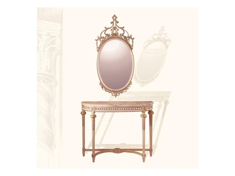 Wall Mirror art. 134, Oval Mirror with carved molding, Louis XVI Style