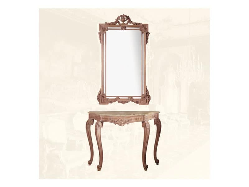 Wall Mirror art. 135, Rectangular mirror with frame made of lime wood