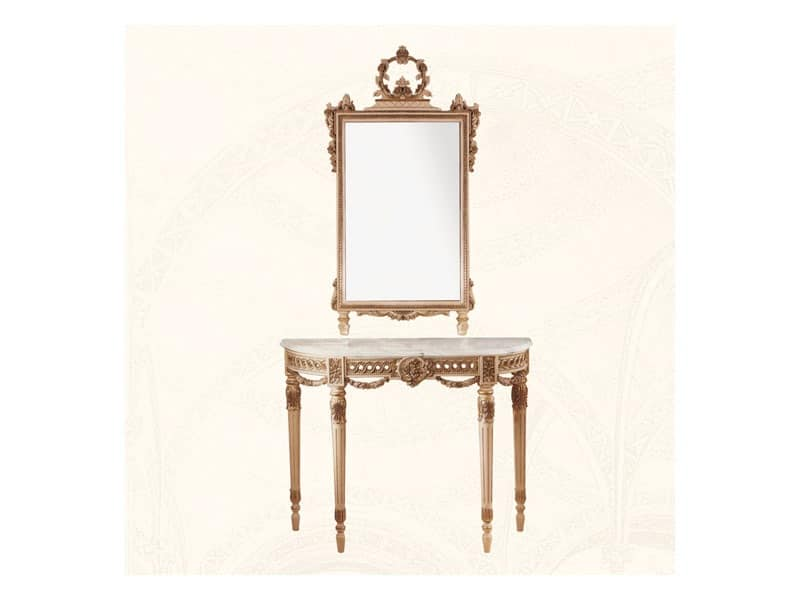 Wall Mirror art. 138, Mirror with wooden frame decorated with flowers