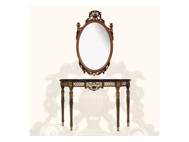 Wall Mirror art. 139, Large mirror, decorated with leaves and flowers