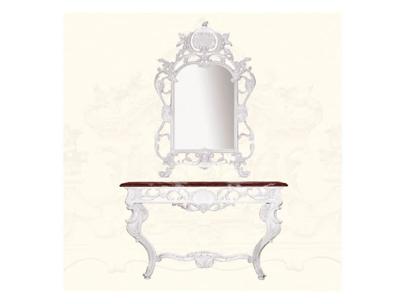 Wall Mirror art. 147, Mirror with frame decorated with leaves, Louis XV style