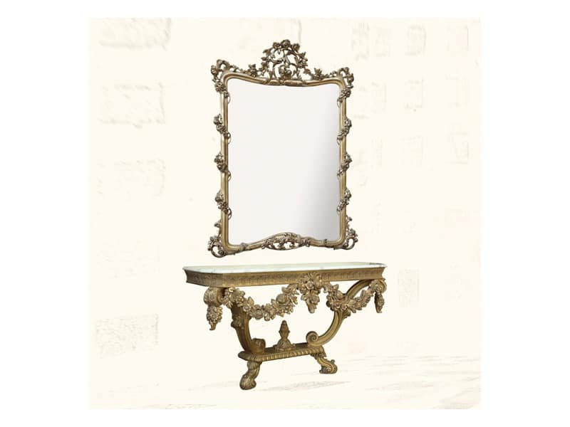 Wall Mirror art. 150, Mirror with finishings in gold leaf, Louis XV Style
