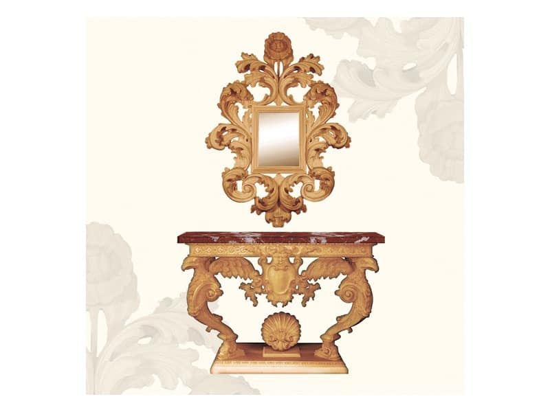 Wall Mirror art. 156, Mirror with large frame decorated with leaves