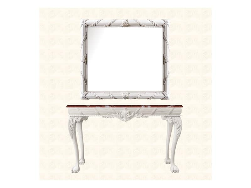 Wall Mirror art. 160, Mirror with frame decorated with floral wreath