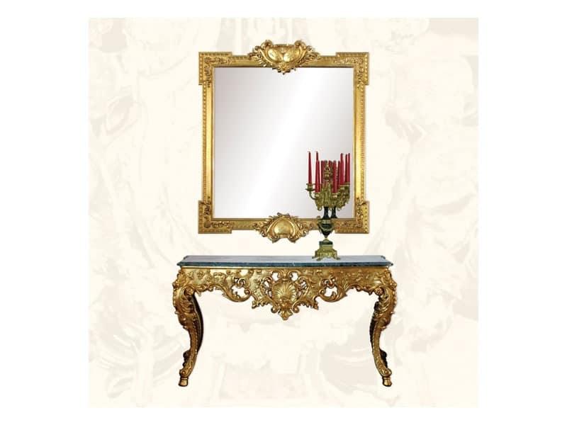Wall Mirror art. 162, Mirror luxury with gold leaf finishing