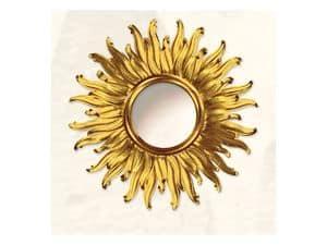 Wall Mirror art. Big Light, Large mirror with sun shape, gold finishings