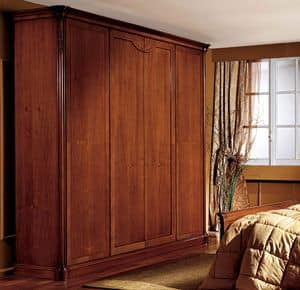 Alice wardrobe wood door, Wardrobe with 4 doors, walnut veneered, classic style
