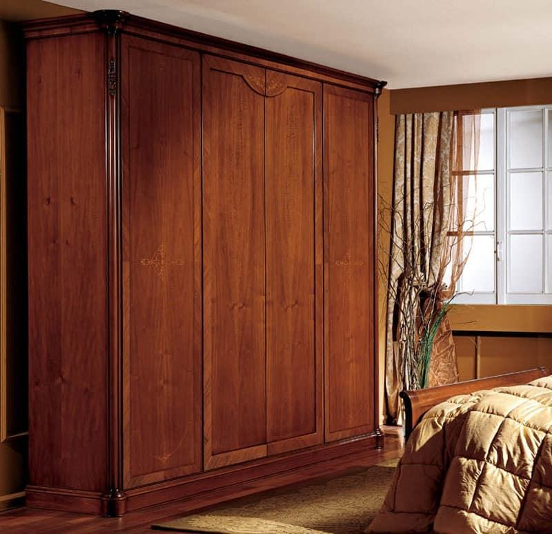 Alice wardrobe wood door, Wardrobe with 4 doors, walnut veneered, classic style