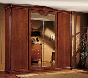 Alice wardrobe, Walnut wardrobe, hand carved, wax finishes