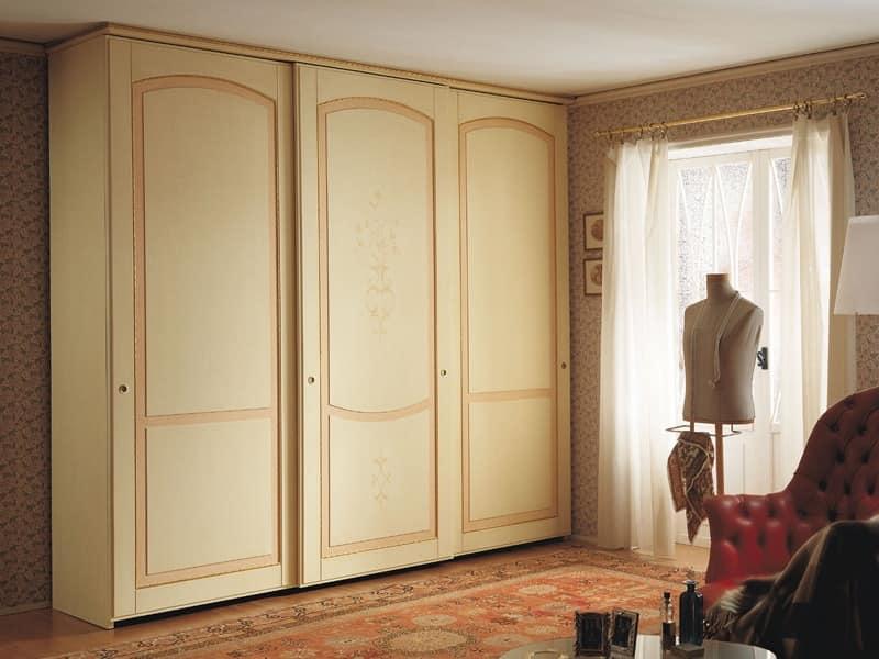 Appunti di Viaggio 5, Wardrobe with sliding doors, classic design, finishing tempera decapé