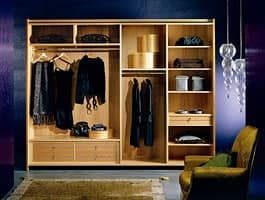 AR10 Arte wardrobe, Classic wardrobe with cut glass, sliding doors