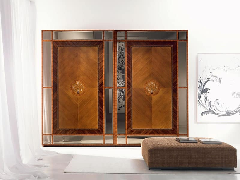 AR16 Pois wardrobe, Wardrobe with sliding doors, inlays in various materials