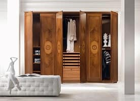 AR17 I Rosoni wardrobe, Wardrobe with hinged door, inlay in various woods