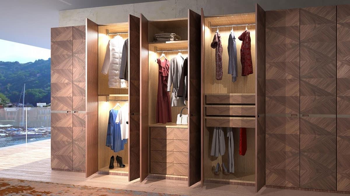 AR22 Wardrobe, Modular cabinet in walnut, tie racks and trouser holder