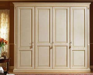 Aries wardrobe, Luxurious lacquered wardrobe with 4 doors, paneled wood