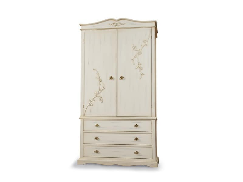 Art. 1622, Decorated wooden wardrobe, 3 drawers, for hotels