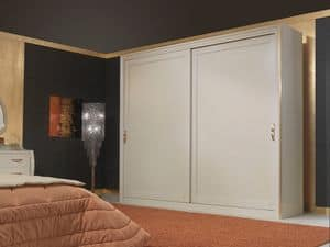 Art. 2010 Wardrobe, Wooden wardrobe, in classic style, with sliding doors