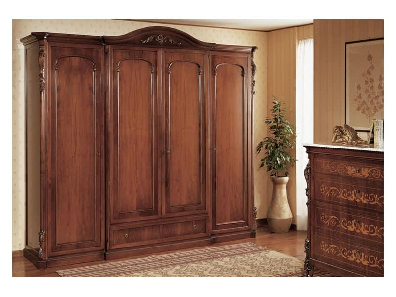 Art. 294 wardrobe closet '800 Siciliano, Handmade closet, for classical style bedroom