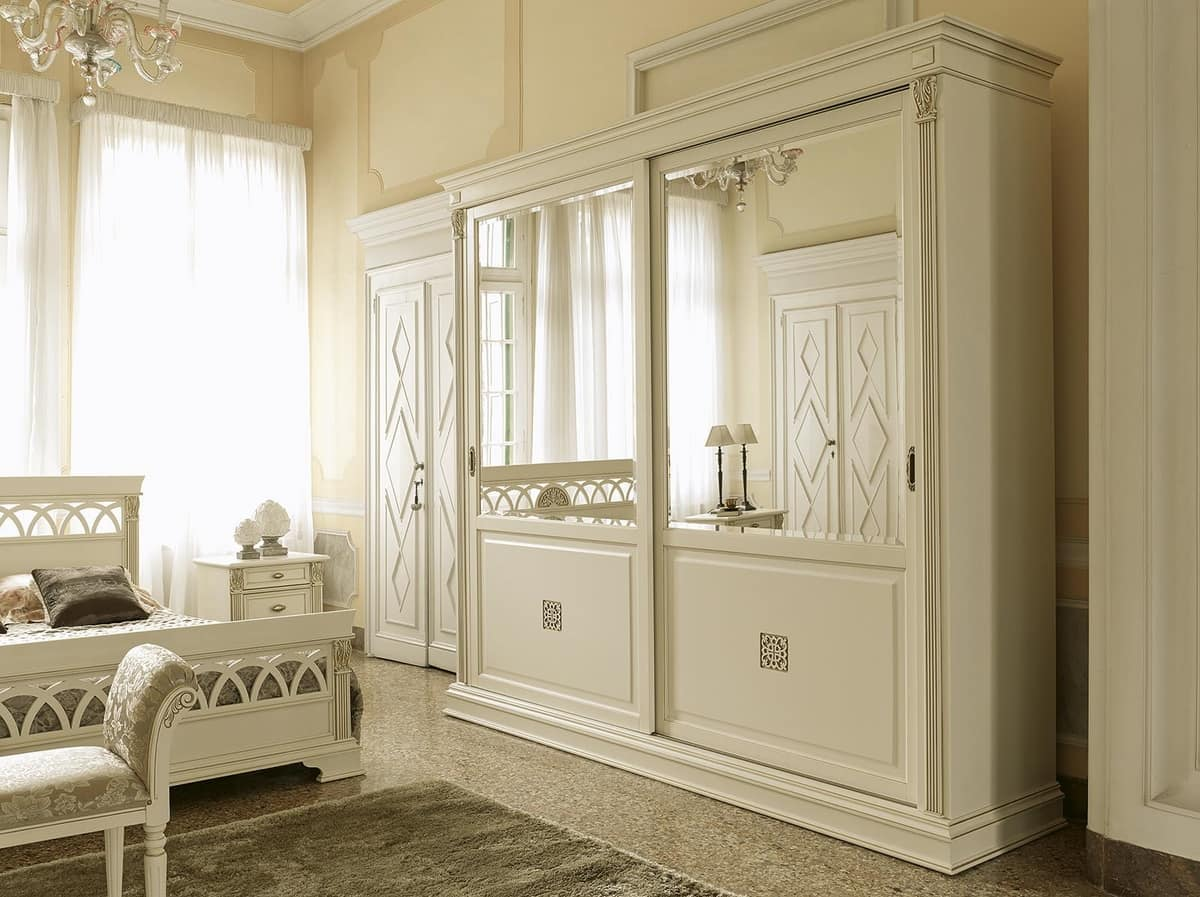 Classic Wardrobe With 2 Sliding Doors And Mirror Idfdesign