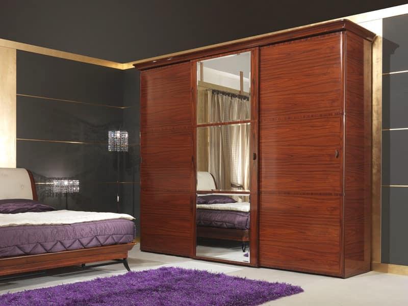 Art 509 Wardrobe Luxury classic wardrobe in Rosewood sliding doors & Luxury classic wardrobe in Rosewood sliding doors | IDFdesign