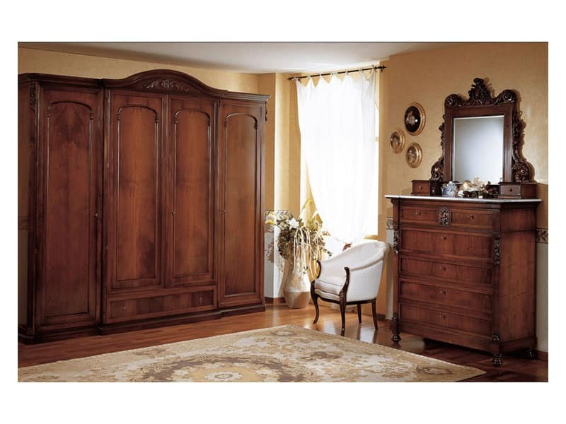 Art. 973 wardrobe closet '800 Siciliano, Antique style wardrobe, with 4 doors, for bedroom