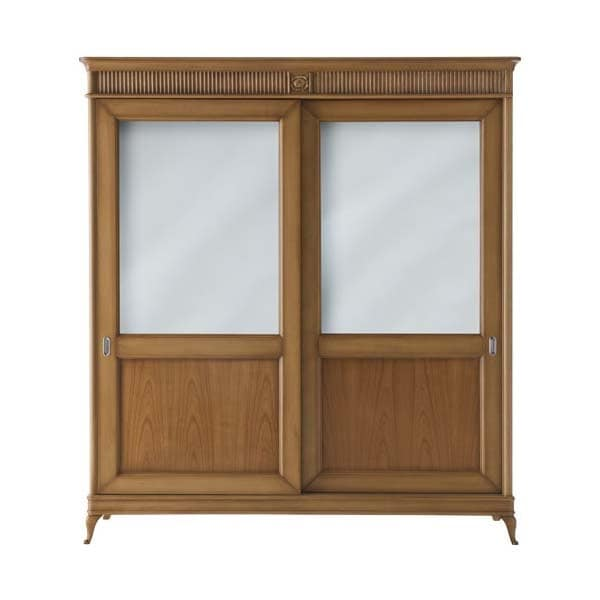 Art. CA748, Wardrobe with 2 sliding doors, with classic carvings