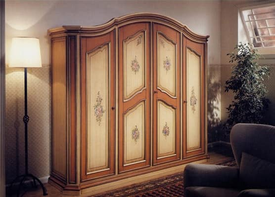 Avignone Wardrobe in classical style 4 doors with handmade decorations & Wardrobe in classical style 4 doors with handmade decorations ...