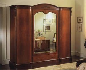 Canova warbrobe 4 doors with mirrors, Wardrobe with 4 doors, internal chest of drawers and mirrors