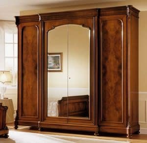 D'Este wardrobe, Cabinet in walnut, classic luxury, with mirror