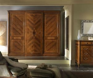 G 706, Walnut wardrobe with 3 sliding doors, veneered