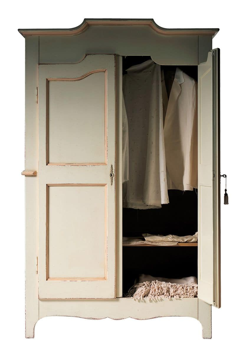 Geneviève BR.0751, Lacquered wardrobe with 2 doors, with an internal shelf, suitable for bedrooms in classic style