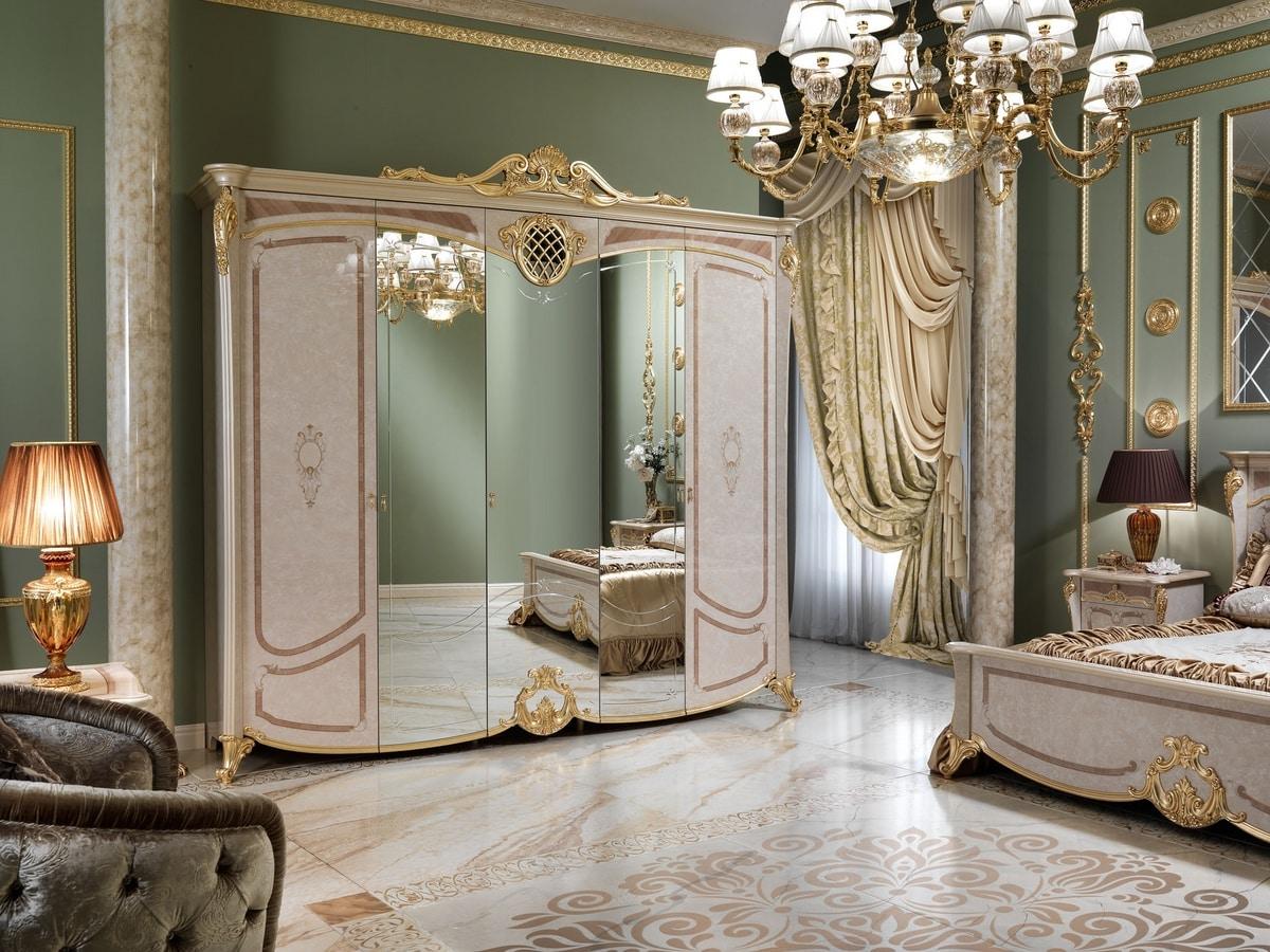 Isabelle wardrobe, Luxurious wardrobe with 3 mirrored doors