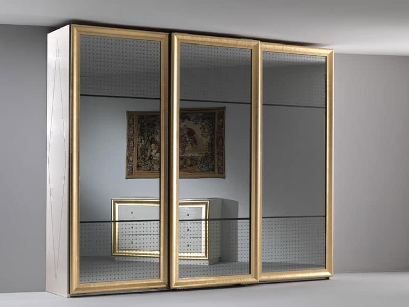 Jolie wardrobe, Elegant wardrobe, three mirrored sliding doors, for the bedroom